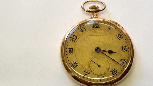 Zlaté kapesní hodinky Longines po celkové renovaci